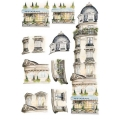 """Рисовая бумага для декупажа Calambour CO 12 """"Дом с балконами"""", для 3D изображений, 35х50 см"""