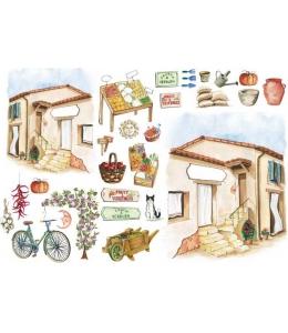 """Рисовая бумага для декупажа Calambour CO 18 """"Средиземноморский дом"""", для 3D изображений, 35х50 см"""