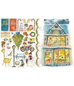 """Рисовая бумага для декупажа Calambour CO 26 """"Черепица, снеговик, игрушки"""", для 3D изображений, 35х50 см"""