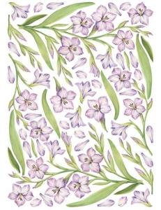 """Декупажная карта двусторонняя Calambour DF 03 """"Сиреневые цветы"""", 34,5 x 49,5 см"""