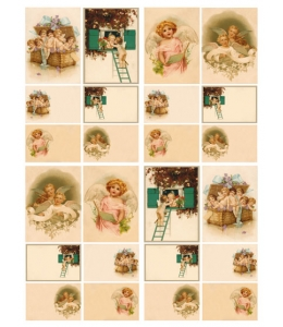 "Декупажная карта Calambour DGE 09 ""Ангелочки в сундуке"", 35х50 см"