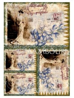 Рисовая бумага для декупажа Calambour DGR102 Леди, цветы, штампы, 33х48 см