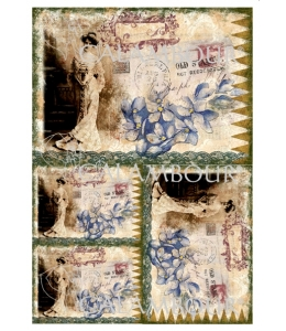 Рисовая бумага для декупажа Calambour DGR 102 Леди, цветы, штампы, 33х48 см