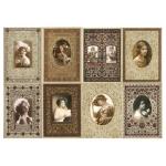 Рисовая бумага для декупажа Calambour DGR 108, Винтажные портреты в рамках, 33х48 см
