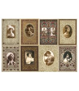 Рисовая бумага для декупажа Calambour DGR 108 Винтажные портреты в рамках, 33х48 см