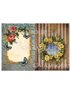 """Рисовая бумага для декупажа Calambour DGR 114 """"Рамки с цветами"""", 35х50 см"""