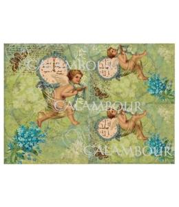 Рисовая бумага для декупажа Calambour DGR 118 Ангелы с часами, 33х48 см