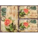 Рисовая бумага для декупажа Calambour DGR 123, Старая открытка с розами, 33х48 см