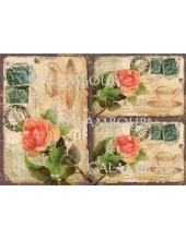 Рисовая бумага для декупажа Calambour DGR 123 Старая открытка с розами, 33х48 см