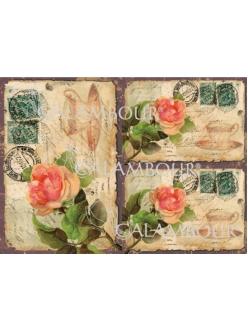 Рисовая бумага для декупажа Calambour DGR123 Старая открытка с розами, 33х48 см