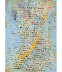 Рисовая бумага для декупажа Calambour DGR 128 Письмо и красочные брызги, 33х48 см