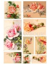 Рисовая бумага для декупажа Calambour DGR 151, Чайные розы, розовые, 33х48 см