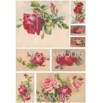 Рисовая бумага для декупажа Calambour DGR 152, Чайные розы, алые, 33х48 см