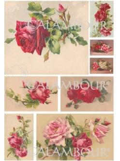Рисовая бумага для декупажа Чайные розы, алые, 33х48 см