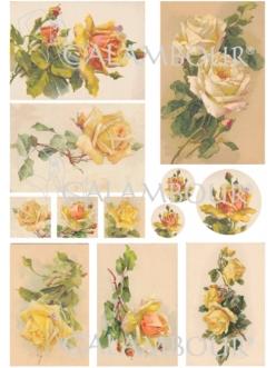 Рисовая бумага для декупажа Calambour DGR 153, Желтые чайные розы