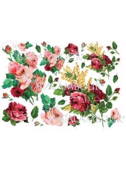 Рисовая бумага для декупажа Calambour DGR 155, Весенний букет с розами, 33х48 см