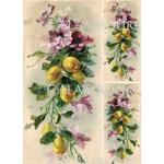 Рисовая бумага для декупажа Calambour DGR 159, Цветы и лимоны, винтаж, 33х48 см