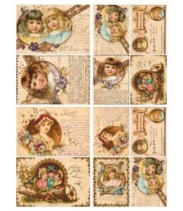 """Декупажная карта Calambour DGE 16 """"Викторианские открытки"""", куклы, текст, 35х50 см"""