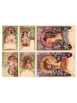 Рисовая бумага для декупажа Calambour DGR162 Женские образы, Альфонс Муха, 33х48 см