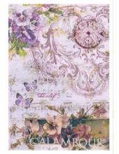 Рисовая бумага для декупажа Calambour DGR 168, Орнамент, цветы, часы, 33х48 см