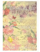 Рисовая бумага для декупажа Calambour DGR 173, Тюльпаны и старые тексты, 33х48 см