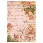 Рисовая бумага для декупажа Calambour DGR 175, Розы, тексты и орнамент, 33х48 см