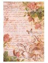 Рисовая бумага для декупажа Calambour DGR 175 Розы, тексты и орнамент, 33х48 см