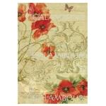 Рисовая бумага для декупажа Calambour DGR 179, Маки, текст, орнамент, 33х48 см