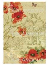 Рисовая бумага для декупажа Calambour DGR 179 Маки, текст, орнамент, 33х48 см