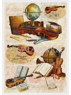 Рисовая бумага для декупажа Calambour DGR 185 Скрипки, музыка, 33х48 см
