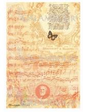 Рисовая бумага для декупажа Calambour DGR 186 Винтажные ноты, орнамент, текст, 33х48 см