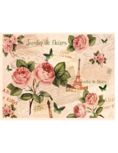 Рисовая бумага для декупажа Calambour DGR 019, Париж и розы, 33х48 см
