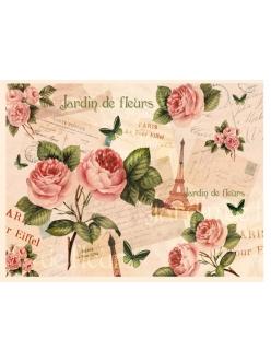 Декупажная карта Париж, розы, 35х50 см