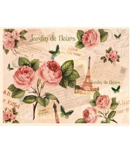 """Декупажная карта Calambour DGE 19 """"Париж, розы"""", 35х50 см"""