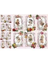 """Рисовая бумага для декупажа Calambour DGR 260 """"Рождество, ангелочки"""", 35х50 см"""