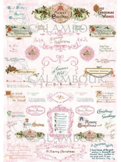 """Рисовая бумага для декупажа Calambour DGR 269 """"Рождественские надписи"""", 35х50 см"""