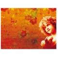 Рисовая бумага для декупажа Calambour DGR 028, Цветы, девочка, красный фон, 33х48 см