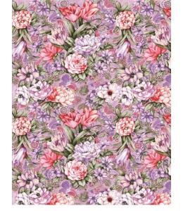 Рисовая бумага для декупажа Calambour DGR 030 Цветы на сиреневом фоне, 33х48 см