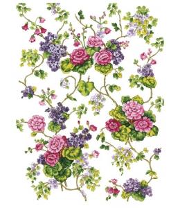 Рисовая бумага для декупажа Calambour DGR 032 Вьющиеся цветы, 33х48 см