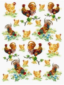 Рисовая бумага для декупажа Calambour DGR 039, Петухи, курочки, цыплята, 33х48 см