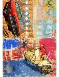 Рисовая бумага для декупажа Calambour DGR 054 Машина и мотоцикл, коллаж, 33х48 см