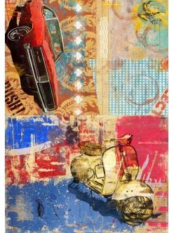 Рисовая бумага для декупажа Calambour DGR054 Машина и мотоцикл коллаж, 33х48 см
