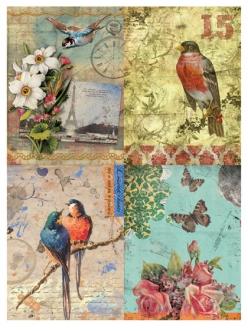 Рисовая бумага для декупажа Calambour DGR 058, Открытки, птицы и цветы
