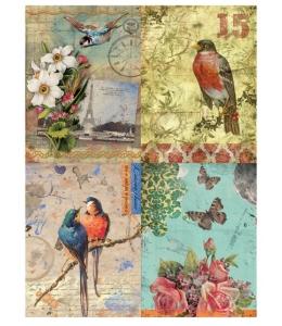 Рисовая бумага для декупажа Calambour DGR 058, Открытки, птицы и цветы, 33х48 см