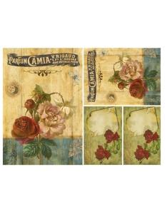 """Декупажная карта Calambour DGE 60 """"Винтажные этикетки и розы"""", 35х50 см"""