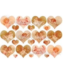 Рисовая бумага для декупажа Calambour DGR 067 Ангелы, купидоны, сердечки, 33х48 см