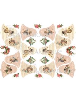 Рисовая бумага для декупажа Calambour Винтажные ангелыи колокольчики, 33х48 см