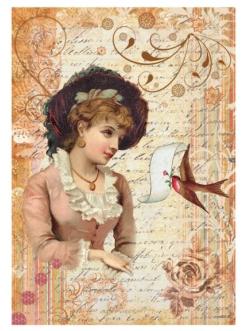 Рисовая бумага для декупажа Викторианская девушка в шляпе, 33х48 см, Calambour DGR096