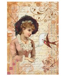 Рисовая бумага для декупажа Calambour DGR 096, Викторианская девушка в шляпе, 33х48 см