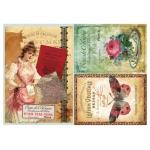 Рисовая бумага для декупажа Calambour DGR 098, Винтажные парфюмерные этикетки, 33х48 см\